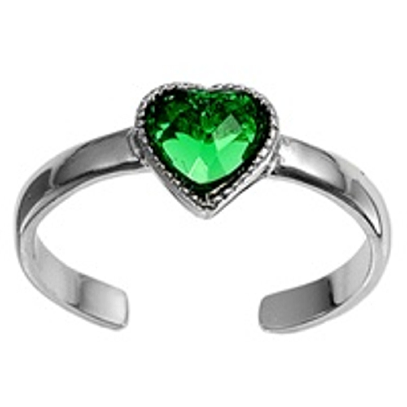 Green Cubic Zirconia Heart Adjustable Toe Ring