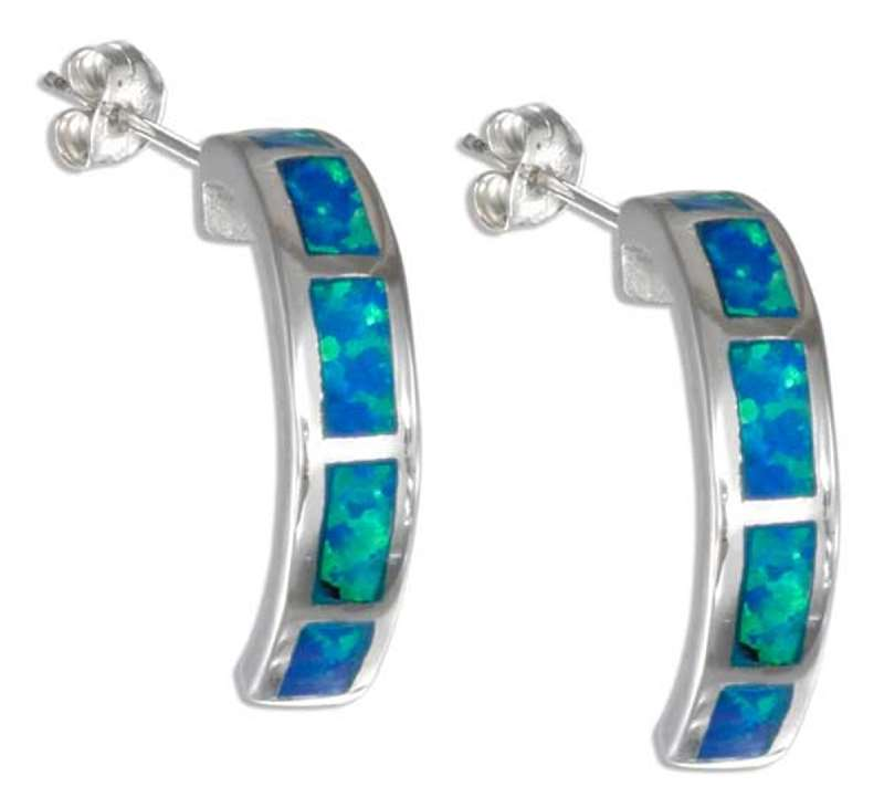 Imitation Blue Opal Cuff Earrings