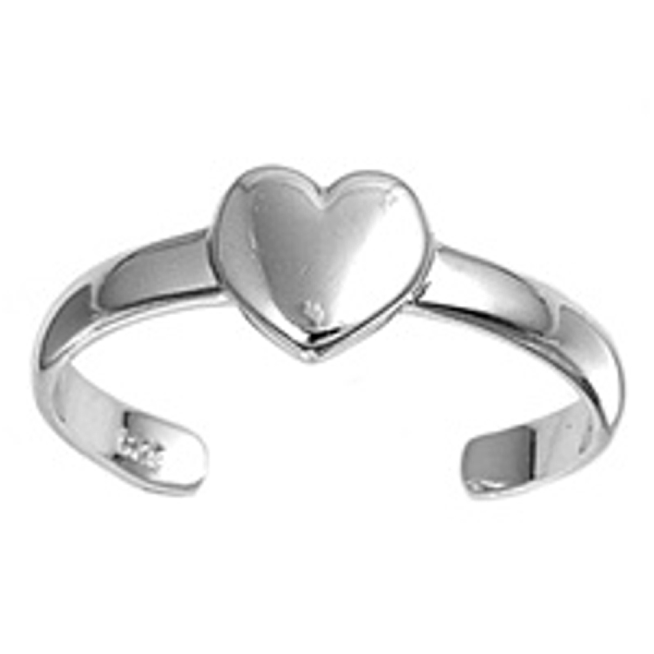 Solid Heart Adjustable Toe Ring