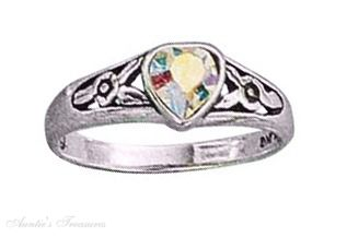 Aurora Borealis Crystal Heart Ring