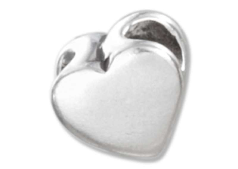 High Polished Pendant Heart Spacer Bead