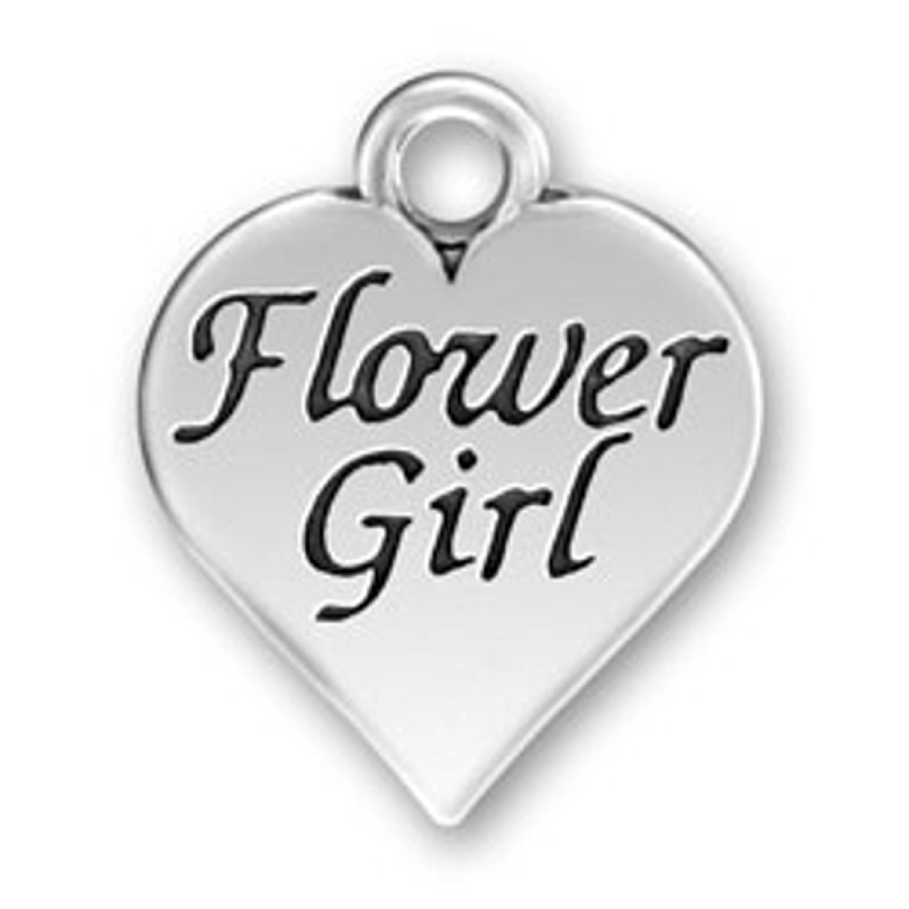 Heart Shaped Flower Girl Message Word Charm