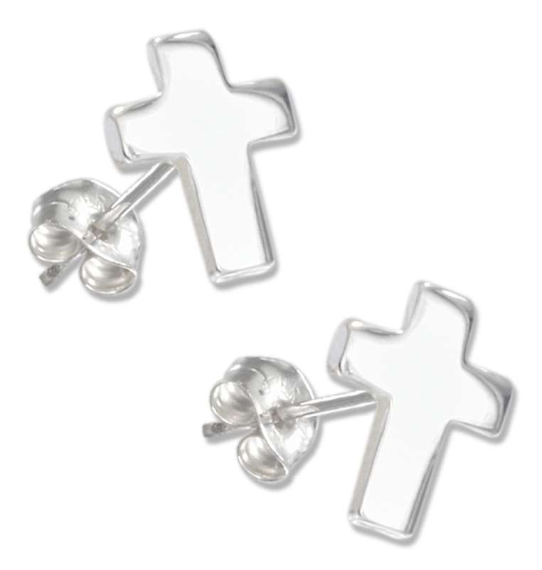 Flat Christian Religious Cross Post Earrings