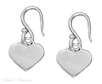 Flat Hearts On Dangle Earrings