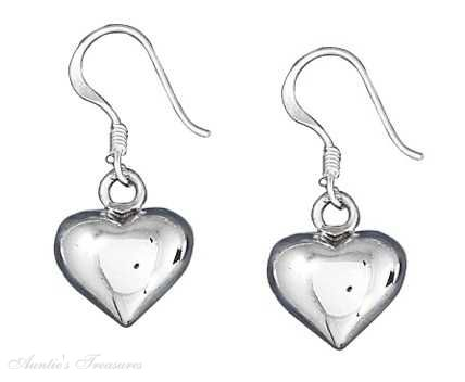 Puffed 10mm Contemporary Heart Dangle Earrings