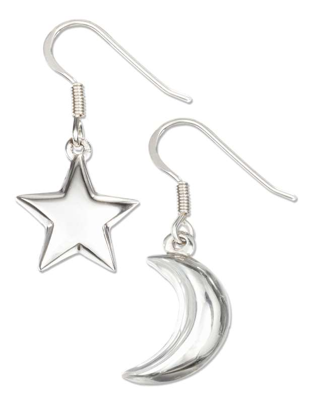 Puffed Moon Star Mismatch Pair Dangle Earrings
