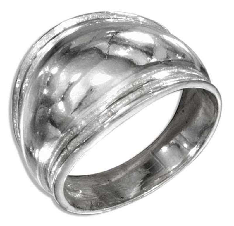 Puffed Tapered Dome Lined Edges Ring