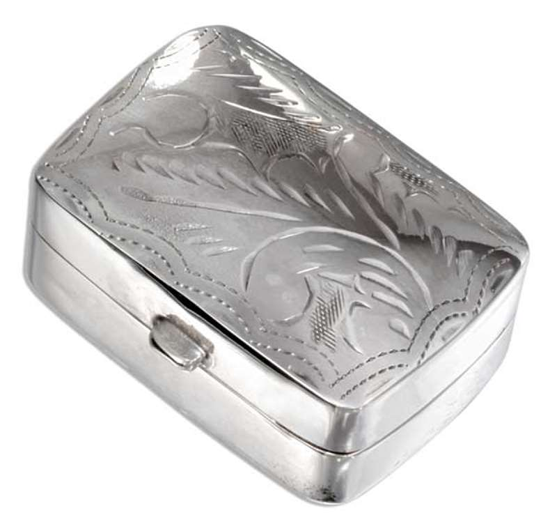 Small High Polished Etched Square Pill Box