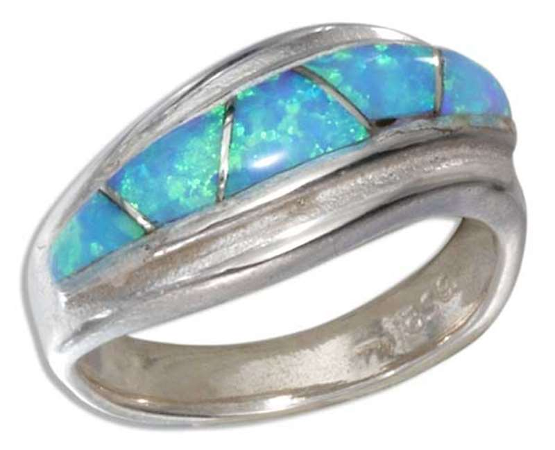 Twist Imitation Blue Opal Triangle Inlay Ring