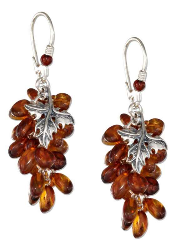 Honey Cognac Amber Beaded Grapevine Earrings