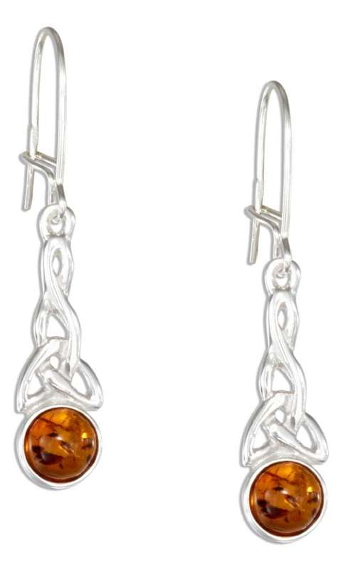Honey Cognac Amber Celtic Earrings