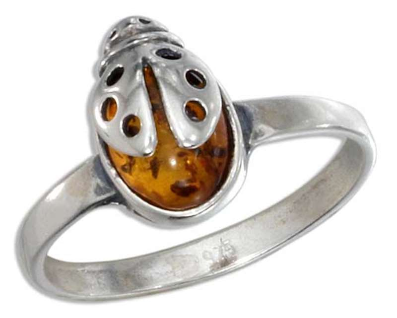 Honey Cognac Amber Ladybug Ring