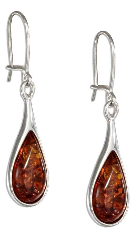 Honey Cognac Amber Teardrop Earrings