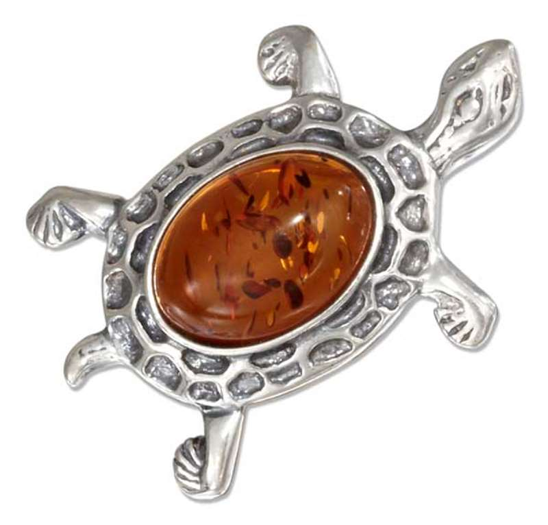 Honey Cognac Amber Turtle Brooch Pin