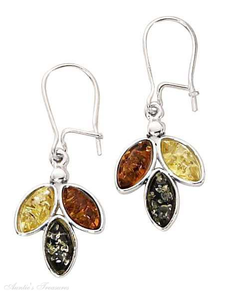 Honey Cognac Green Yellow Butterscotch Amber Leaf Earrings