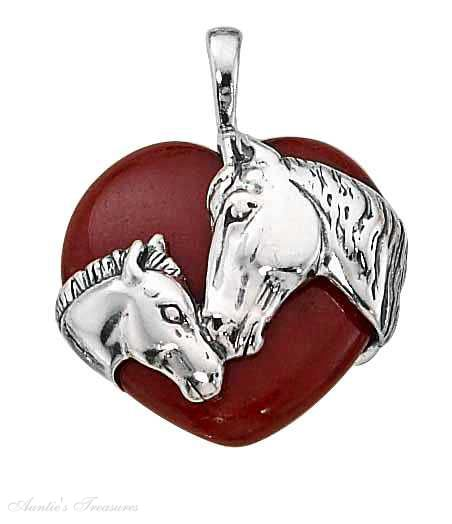 Horse And Foal Red Agate Stone Heart Pendant