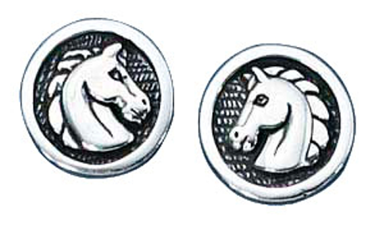 Medallion Horse Head Post Earrings