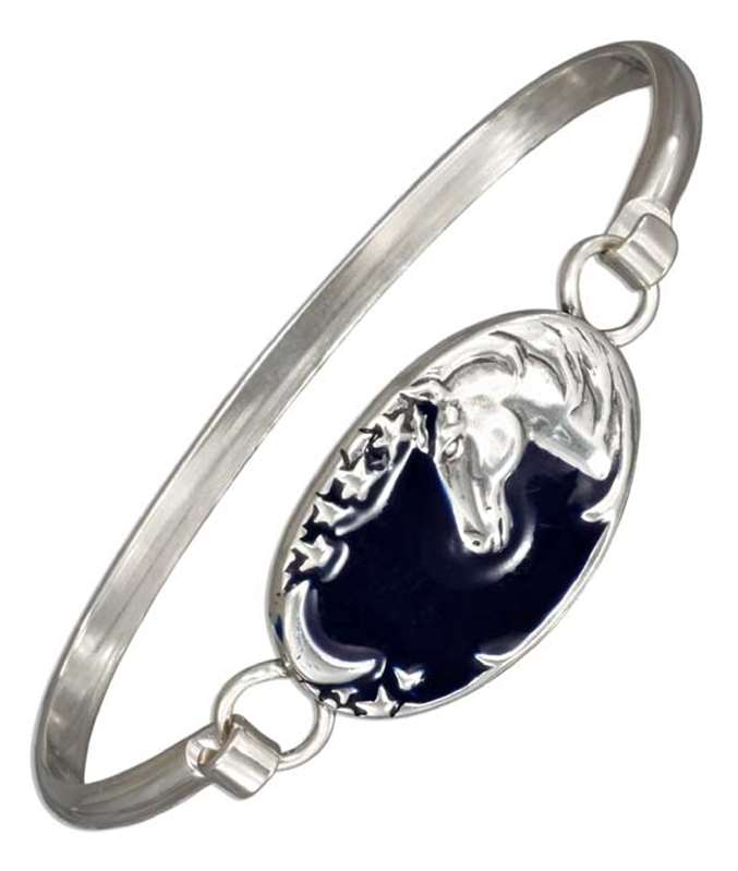 Horse Bangle Bracelet Waning Crescent Moon Stars