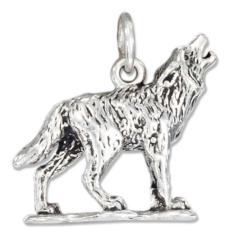 3D Howling Wolf Dog Charm
