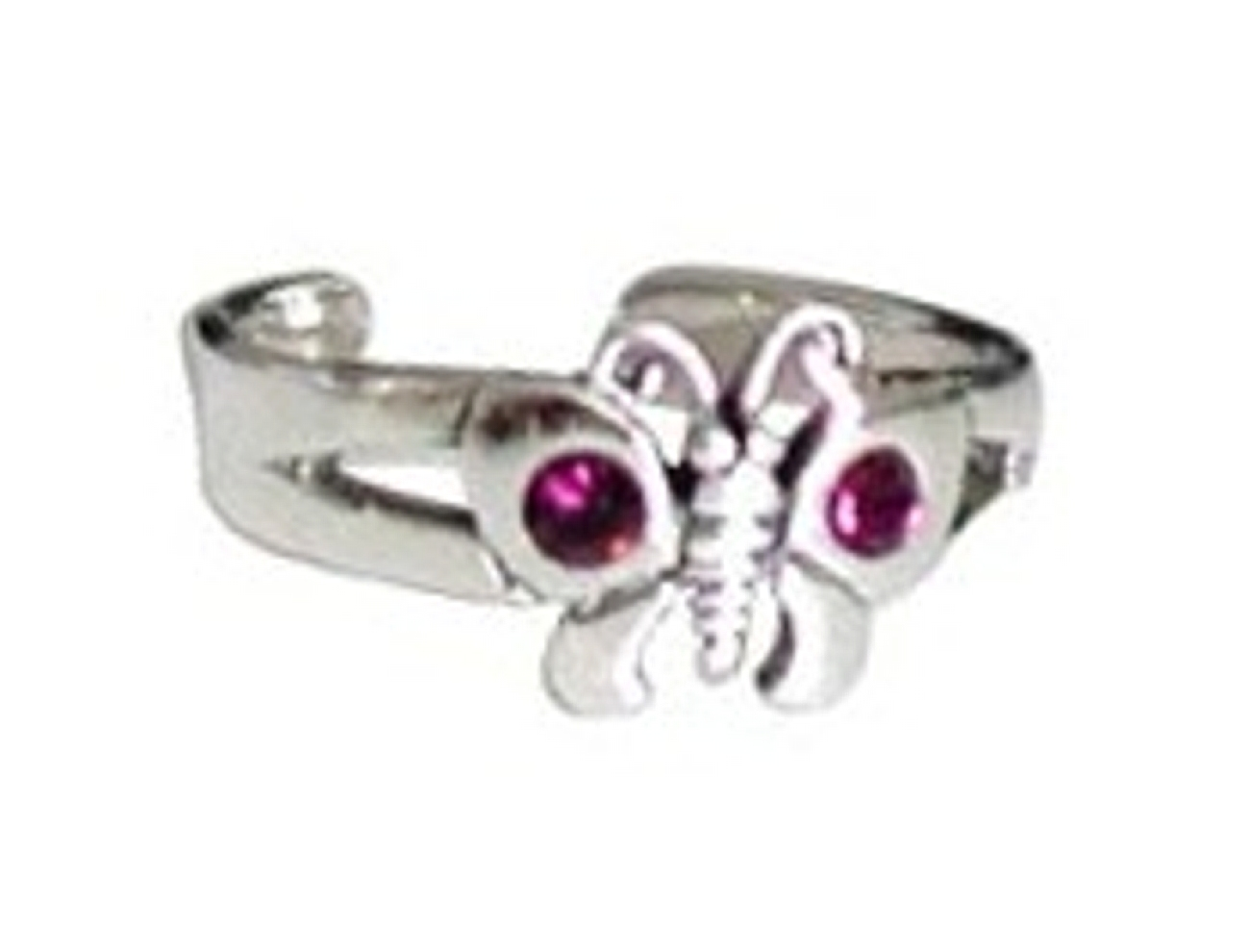 Purple Imitation Amethyst Cubic Zirconia Butterfly Adjustable Toe Ring