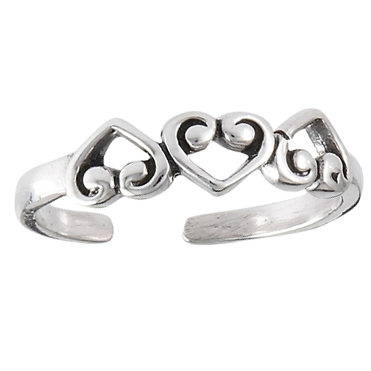 Three Scrolled Inverted Heartsd Adjustable Toe Ring