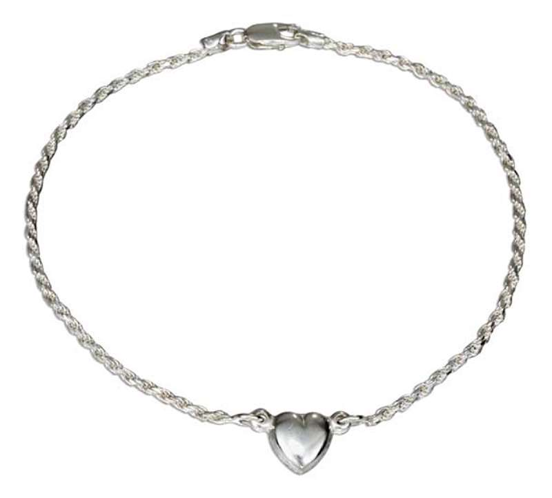 "Italian 9"" 2mm Rope Anklet Ankle Bracelet 9mm Puffed Heart"