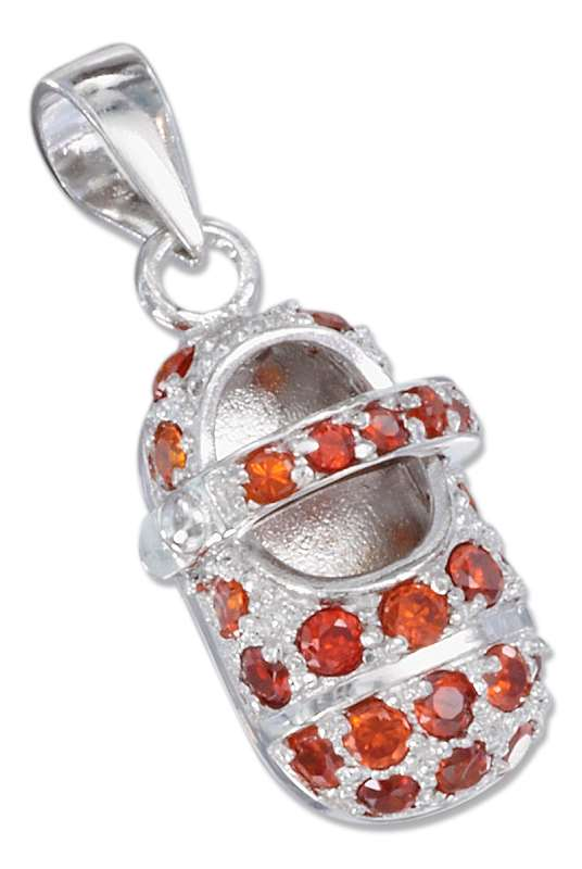 January Large Cubic Zirconia Birthstone Baby Bootie Pendant