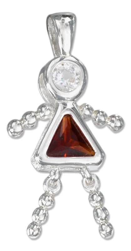 January Birthstone Brat Child Baby Girl Charm Pendant