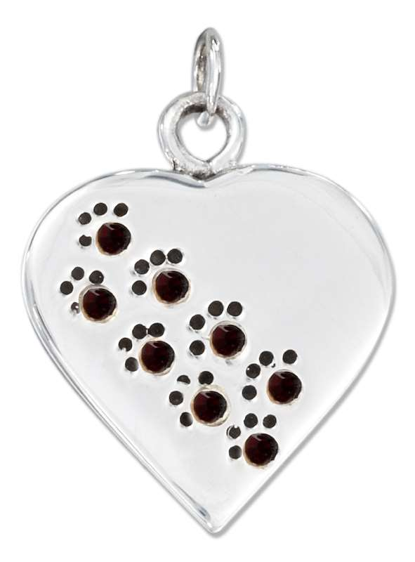 Engraveable January Birthstone Dog Cat Paw Print Heart Charm Tag