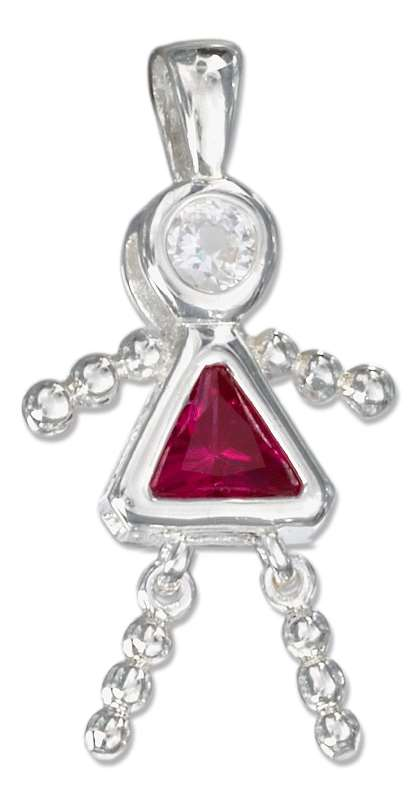 July Birthstone Brat Child Baby Girl Charm Pendant