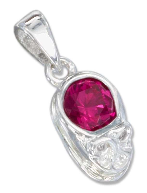 Small July Birthstone Baby Shoe Pendant