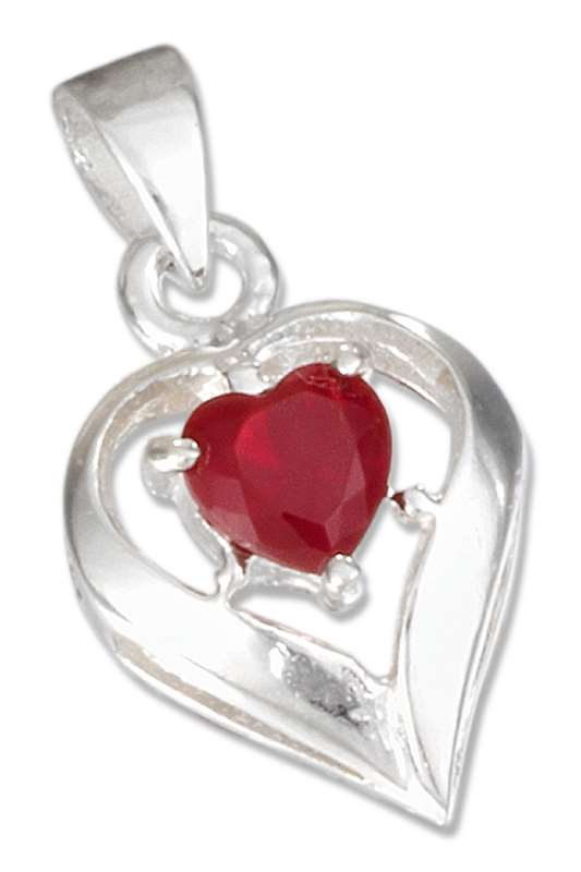 July Birthstone Heart Pendant