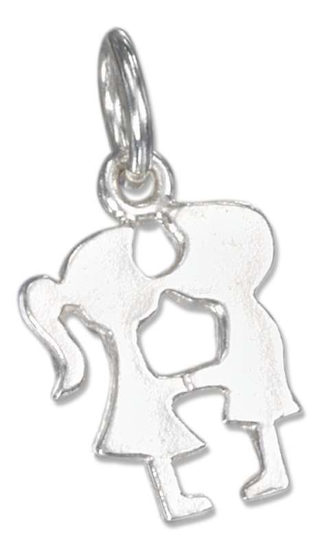 Kissing Boy Girl Silhouette Charm