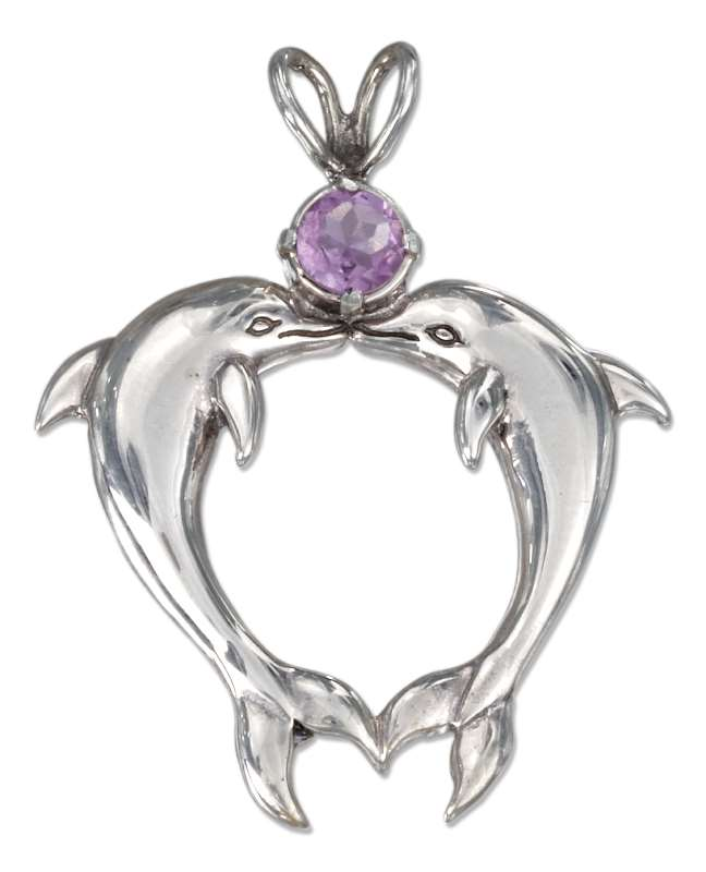 Heart Shaped Amethyst Stone Kissing Dolphins Pendant