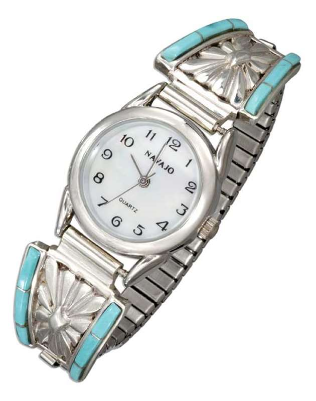 Ladies Turquoise Inlay Watch