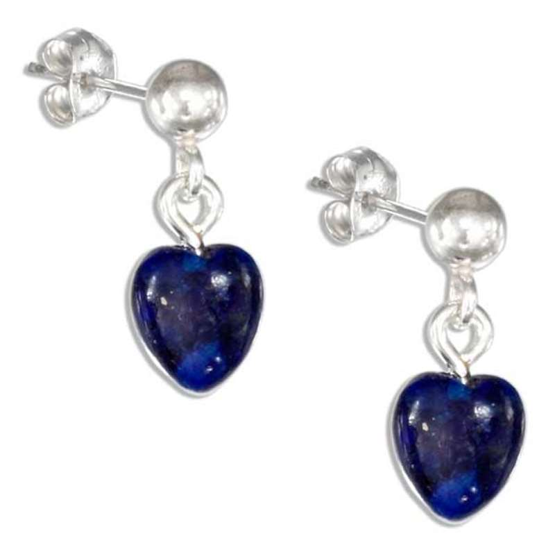 Lapis Heart Dangle Post Earrings