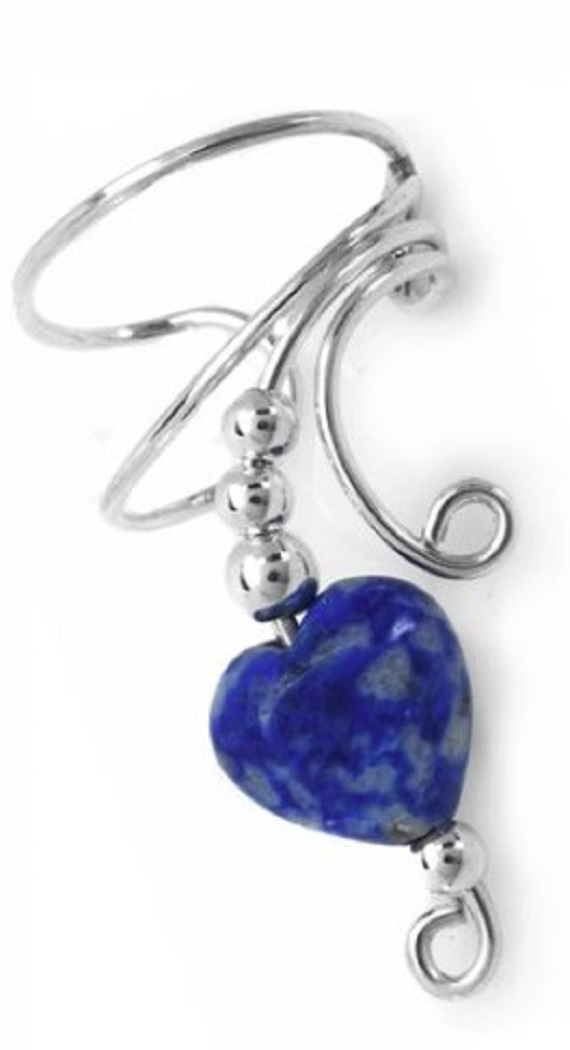 Right Only Blue Lapis Lazuli Heart Wave Ear Cuff Wrap