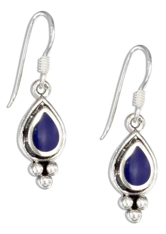 Lapis Teardrop Triple Ball Bottom Earrings