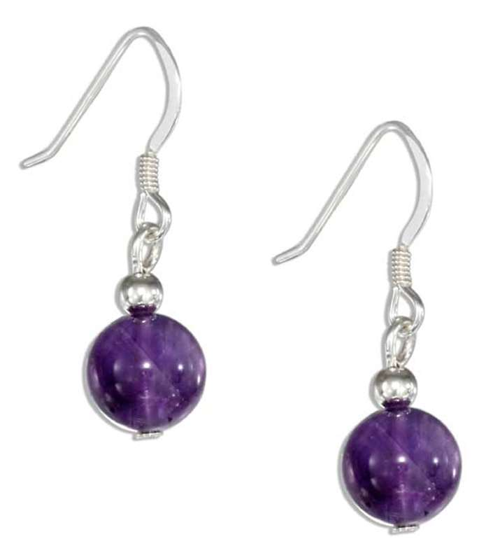 Amethyst Ball Bead Dangle Earrings