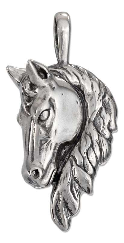 Large Frontal 3D Horse Head Pendant