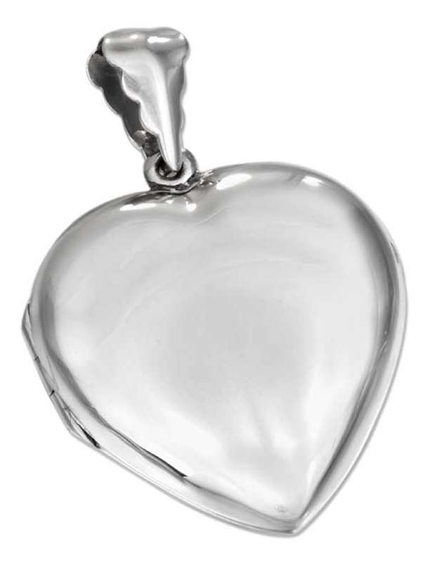 Large Engraveable Plain Heart Two Photo Picture Locket Pendant