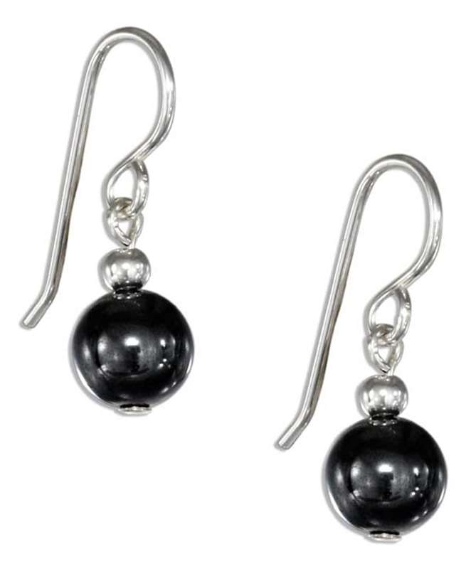 Hematite Ball Bead Dangle Earrings