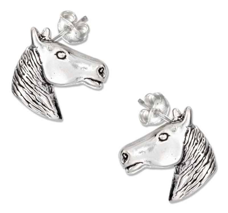 Medium Horse Head Post Earrings