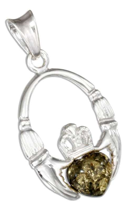 Claddagh Pendant Green Amber Heart