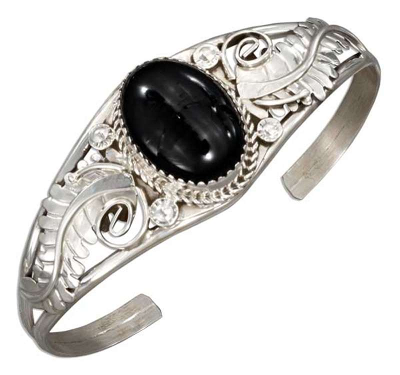Black Onyx Scroll Tapered Shank Cuff Bracelet