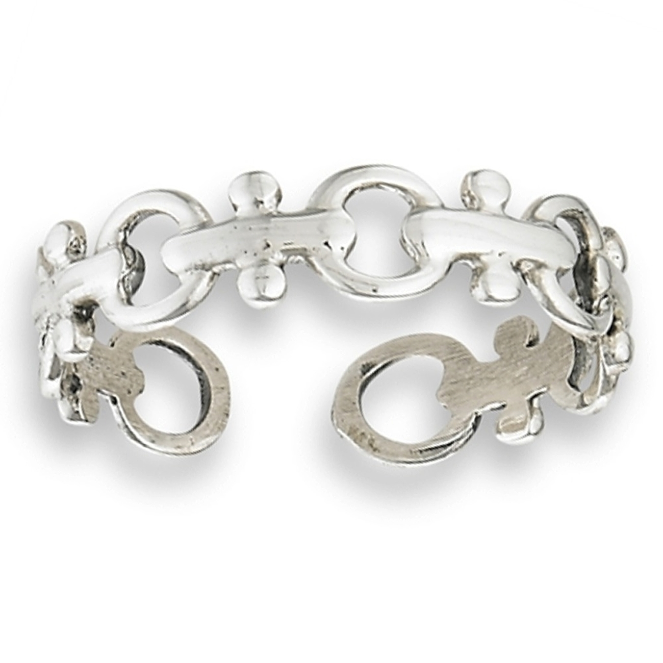 Unique Latch Link Open Circle Link Chain Adjustable Toe Ring