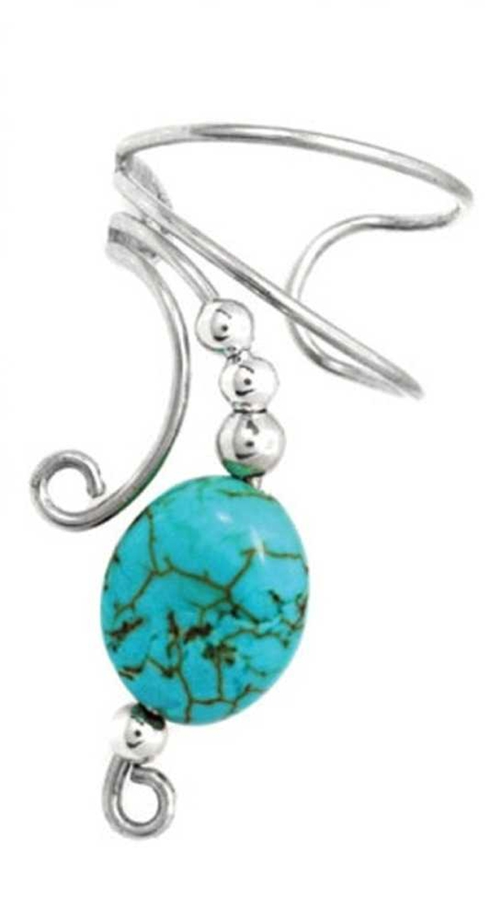 Left Only Turquoise Oval Stone Wave Ear Cuff Wrap