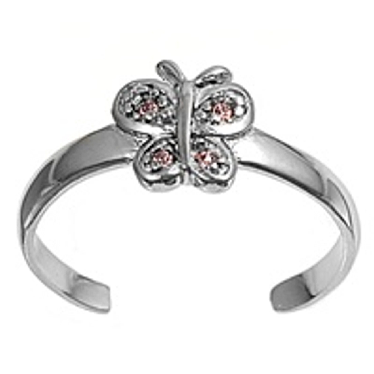 Purple Cubic Zirconia Butterfly Adjustable Toe Ring