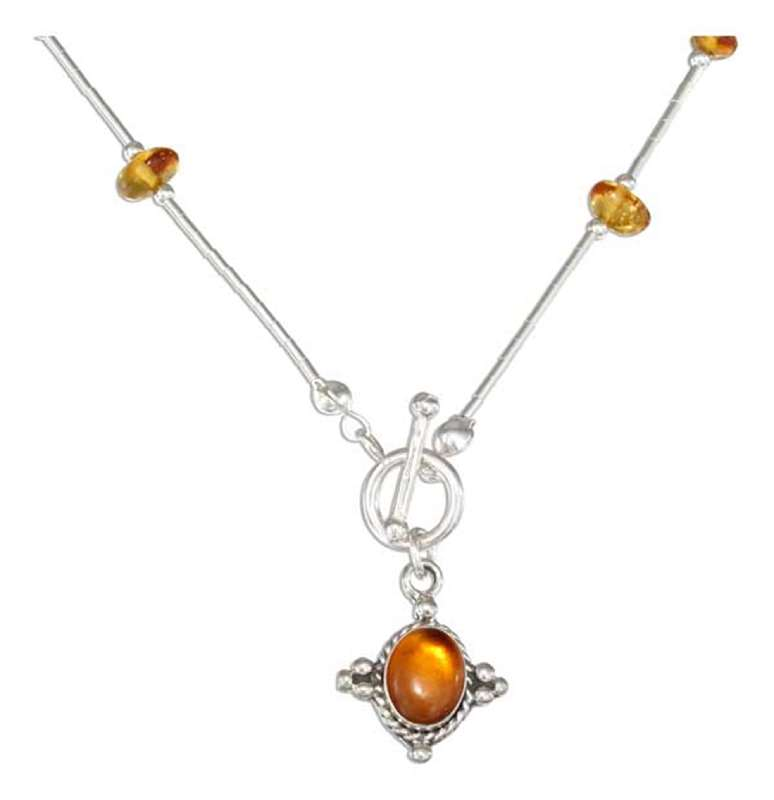 Honey Cognac Amber Nuggets Toggle Choker Necklace