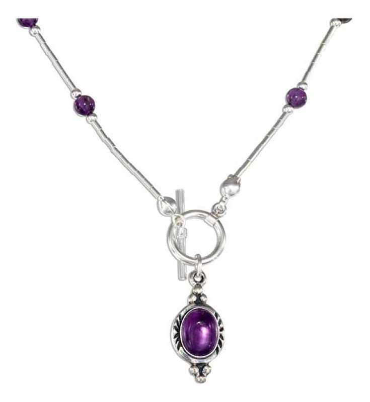 Choker Necklace 17 Amethyst Beads Pendant Toggle